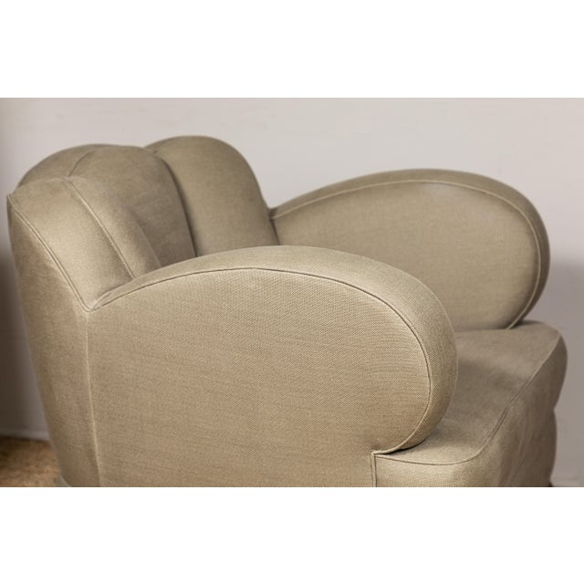 2010s Pat McGann Linen Upholstered Bear-Claw Chair For Sale - Image 5 of 8