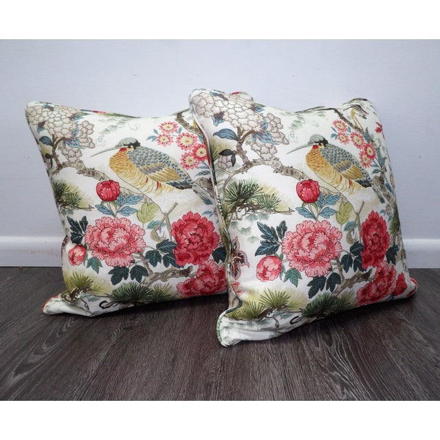 "A pair of new, custom made pillows, 22 x 8 x 22. These feature Scalamandre fabric called ""Bloom"". This is a gorgeous..."