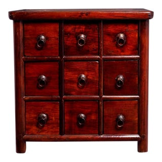 Antique Chinese Apothecary Style Bedside Cabinet with Nine Drawers, circa 1900
