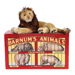 1950s Huge Steif Lion and Barnums Animal Cracker Box For Sale