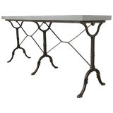 Image of French Slate Top Triple Iron Leg Pastry Table For Sale