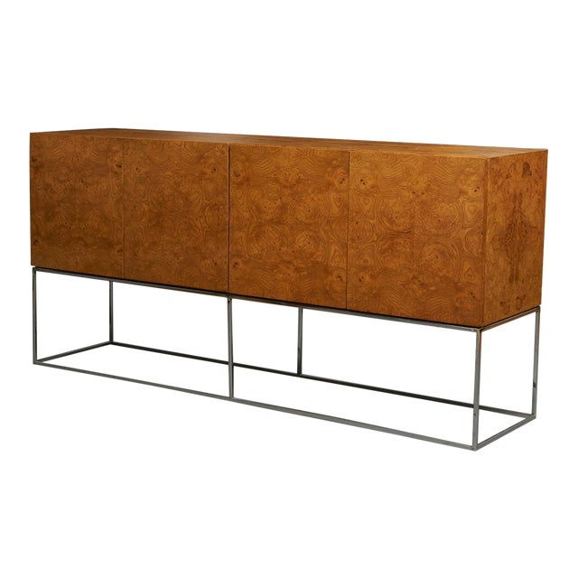 Tall burlwood credenza by Milo Baughman For Sale
