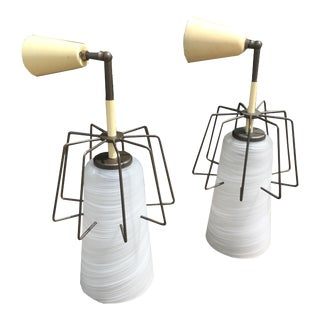 Italian Pendant Light Sconces With Swirl Globes, C.1950s - a Pair For Sale
