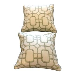 Schumacher Trellis Bamboo Custom Pillows - A Pair For Sale