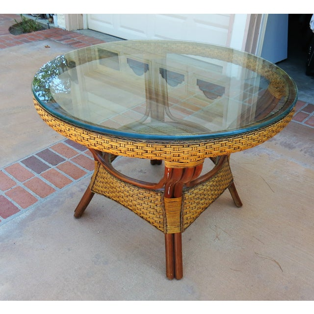 Wicker & Glass Top Dining Table - Image 3 of 8