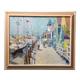 "Ramon Moscardo Fernandez ""Marina Del Rey Santa Monica, CA"" Oil Painting For Sale"