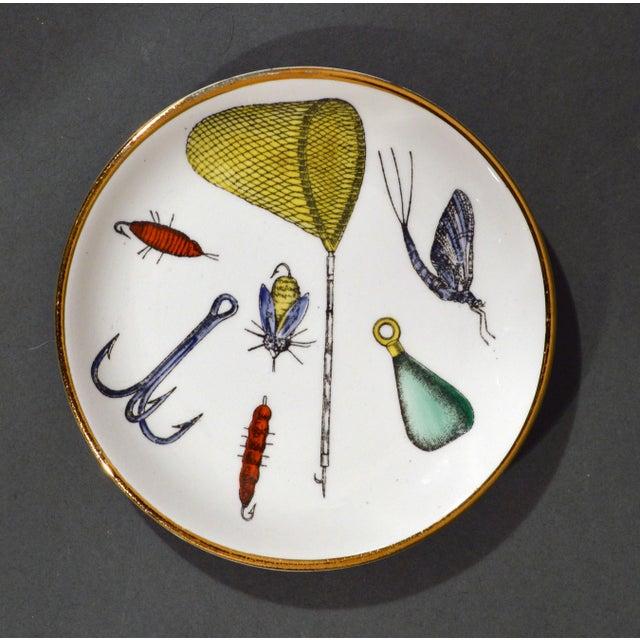 Piero Fornasetti Fishing Lures Coaster Set with Original Box, La Pesca Pattern, 1960s. A full set of eight coasters or...