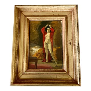 American Mid Century Nude of a Woman Portrait Painting, Framed For Sale
