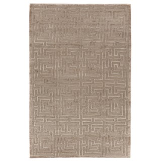 """Vera Hand knotted Wool/Viscose Natural/Beige Rug-6'x9"""" For Sale"""