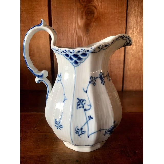 Early 20th Century Royal Copenhagen Fluted Half Lace Blue Pitcher For Sale - Image 5 of 8