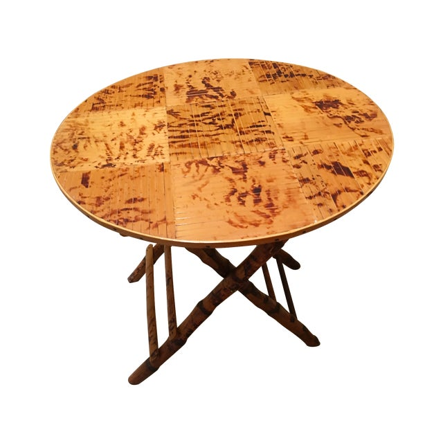 Vintage Bamboo Round Folding Table For Sale