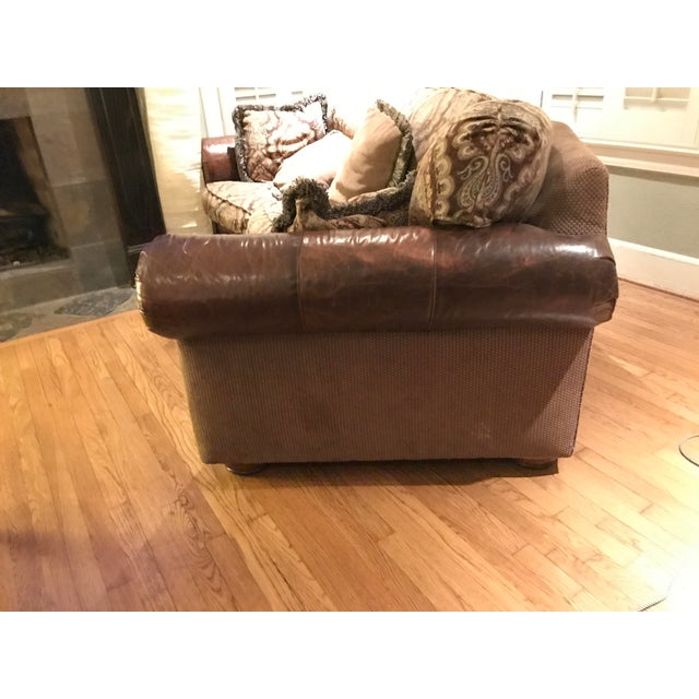 Traditional The Arrangement Leather/Cloth Sofa For Sale - Image 3 of 4