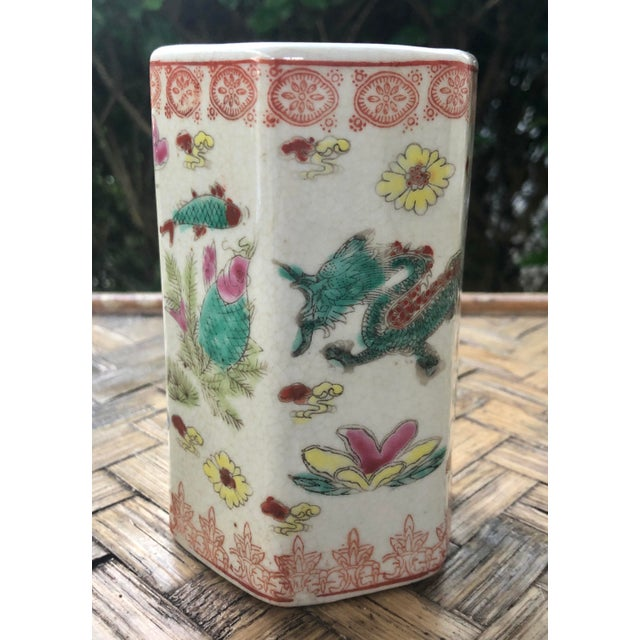 Early 20th Century Vintage Traditional Chinese Motif Vase For Sale - Image 12 of 13