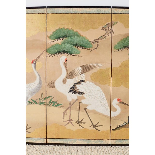 Blue Pair of Japanese Six Panel Meiji Crane Landscape Screens For Sale - Image 8 of 13