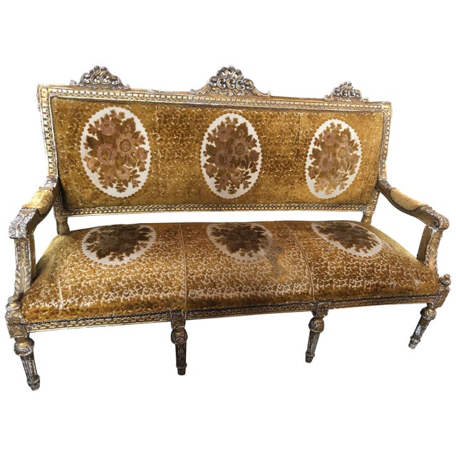 Meant for a Queen Giltwood and Cut Velvet Large French Sofa Settee For Sale - Image 12 of 12