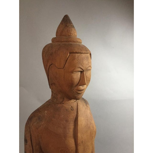 Asian Asian Wooden Standing Figure on Base For Sale - Image 3 of 7