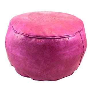 Fuchsia Moroccan Leather Pouf For Sale