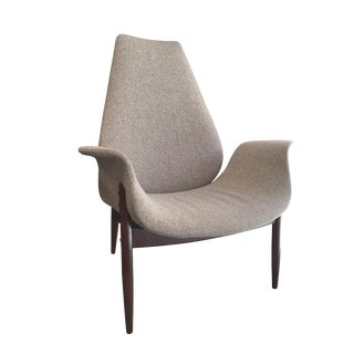 1960s Mid-Century Modern Knoll Oyster Gray Fabric Accent Chair