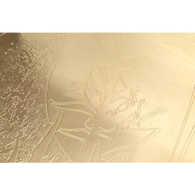 1970s George Mathias Brass Etched Coffee Table For Sale - Image 5 of 10