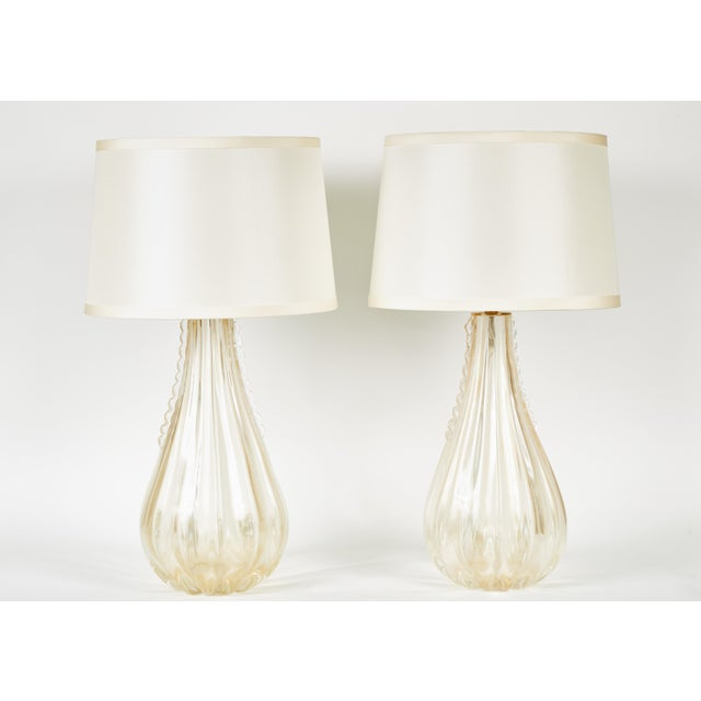 Gold Venetian Teardrop Lamps W/ Pongee Silk Shades - a Pair For Sale - Image 9 of 9