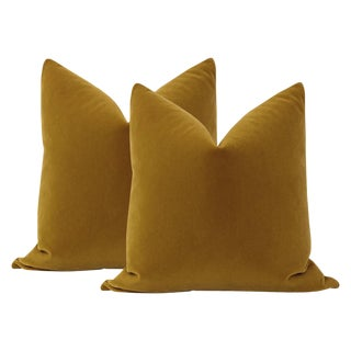 "22"" Tobacco Mohair Pillows - a Pair For Sale"