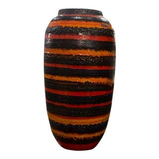 Vintage German Orange and Black Lava Vase For Sale