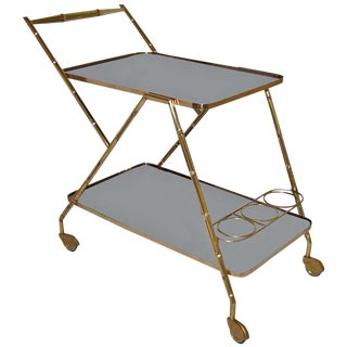 Italian Brass Faux Bamboo Bar Cart