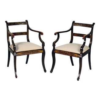 1820s English Regency Ebonized and Gilt Armchairs - a Pair