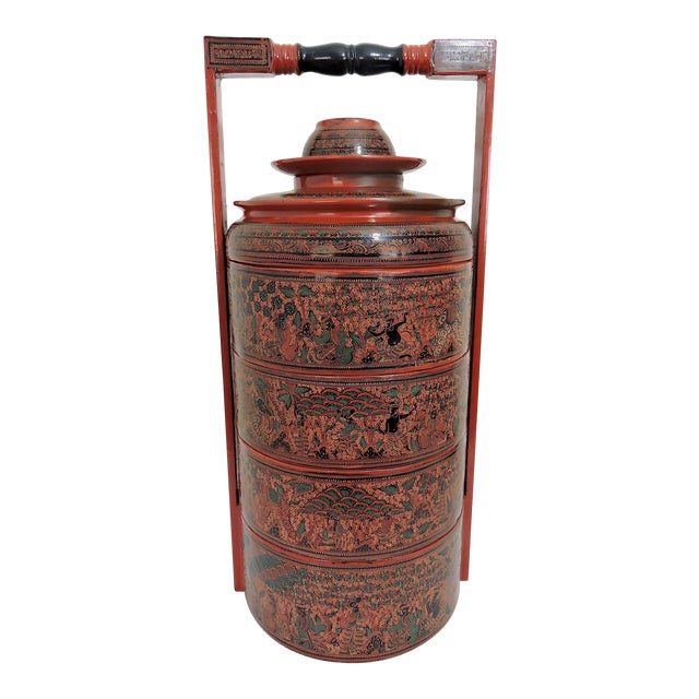 20th Century Burmese Red Lacquer Asian Wedding Food Box / Storage Chest For Sale