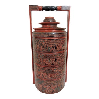 Vintage Burmese Red Lacquer Four Tier Asian Wedding Food Box / Storage Chest / Sewing Box For Sale