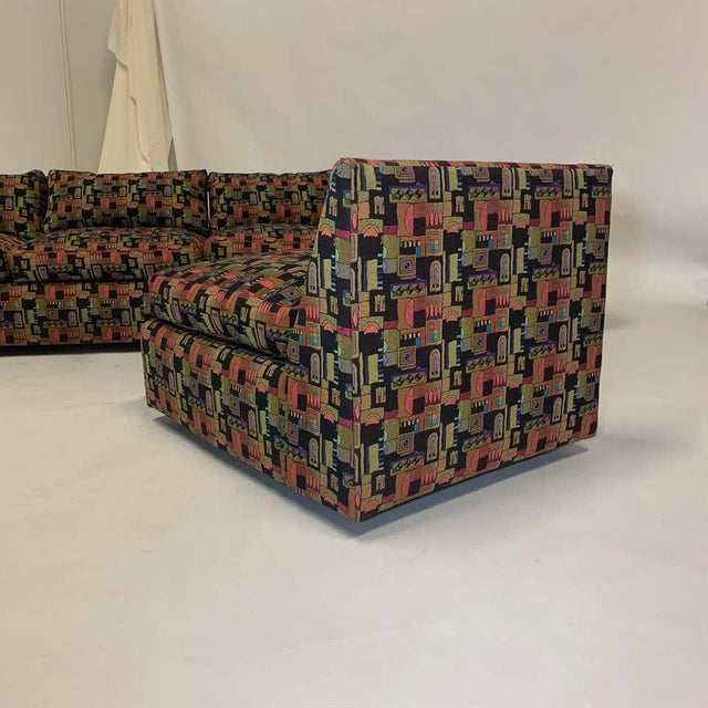 Textile Milo Baughman Memphis Style Fabric Sectional Sofa with Down Filled Cushions - Set of 4 For Sale - Image 7 of 13