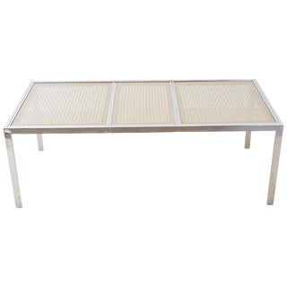 Milo Baughman Chrome Cane Wicker Dining Table For Sale