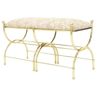 Solid Brass Frame Mid-Century Window Bench New Upholstery For Sale