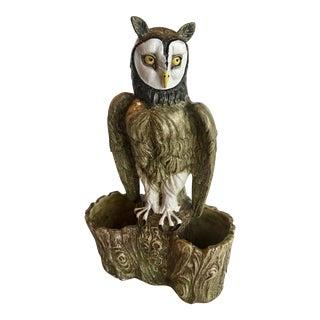 Life Size Italian Ceramic Owl Statue / Planter For Sale