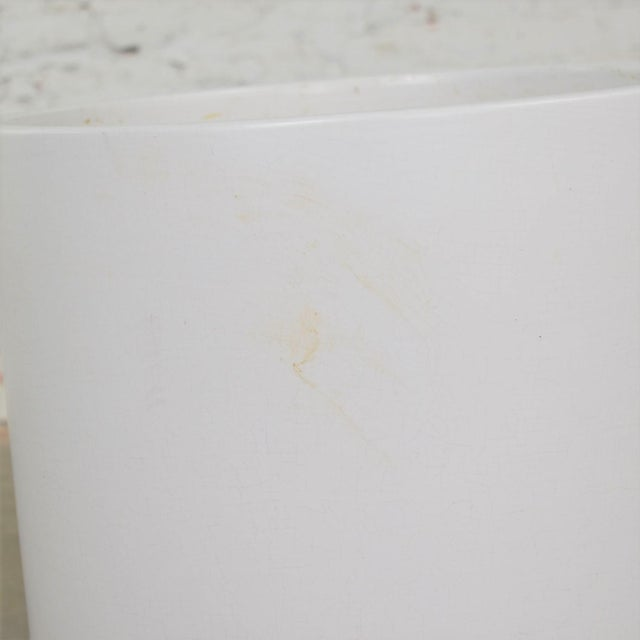 Vintage Mid Century Modern Architectural PotteryWhite Cylindrical Pot For Sale - Image 11 of 12