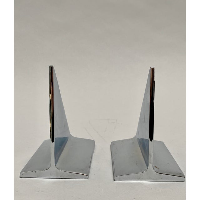 Mid-Century Abstract Modern Chrome Bookends - a Pair For Sale - Image 11 of 13