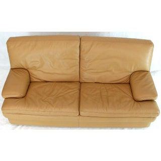 Roche Bobois Light Peach Leather Loveseat Small Sofa Preview