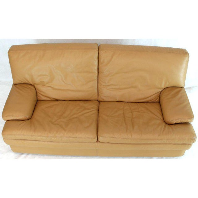 Supple leather removable cushions Italian made Roche Bobois small sofa loveseat.