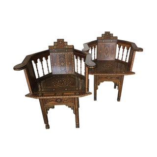 Pair of Marquetry Inlaid Mother of Pearl Armchairs