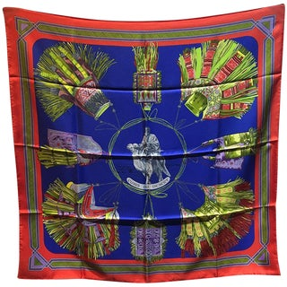 Hermes Vintage Cuirs Du Desert Silk Scarf in Red and Blue C1988 For Sale