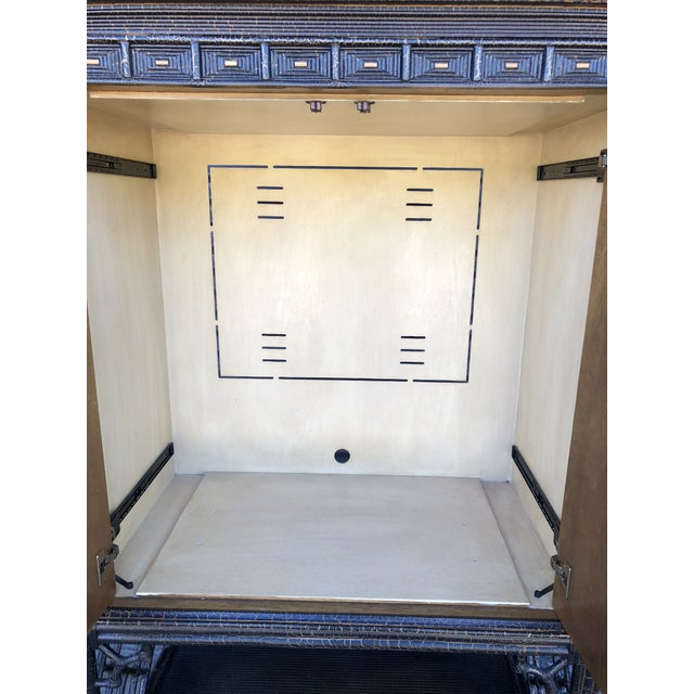 Chinoiserie Rattan Pagoda Style Tv Cabinet Armoire For Sale - Image 9 of 13