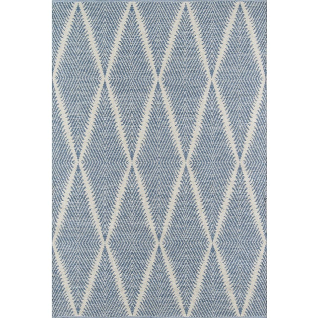 """Acrilyc Polymer Erin Gates by Momeni River Beacon Denim Indoor Outdoor Hand Woven Area Rug - 5' X 7'6"""" For Sale - Image 7 of 7"""