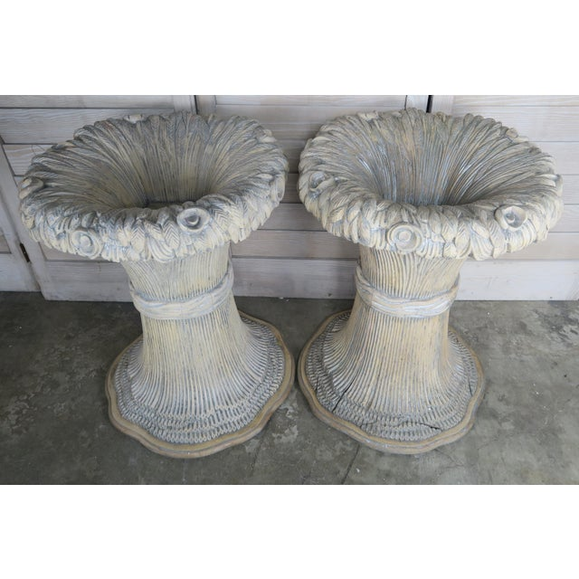 Rococo French Carved Harvest Wheat Planters, Pair For Sale - Image 3 of 10