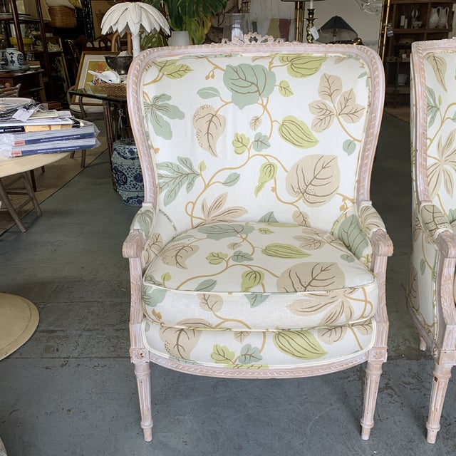 French Upholstered Bergere Chairs - a Pair For Sale - Image 3 of 10