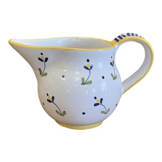 Hand Painted Floral Pottery Pitcher For Sale