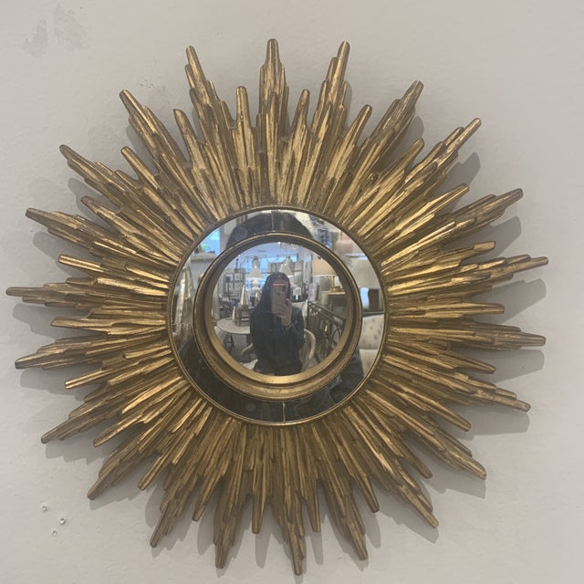 Hollywood Regency Gilded Sunburst Mirror For Sale - Image 13 of 13