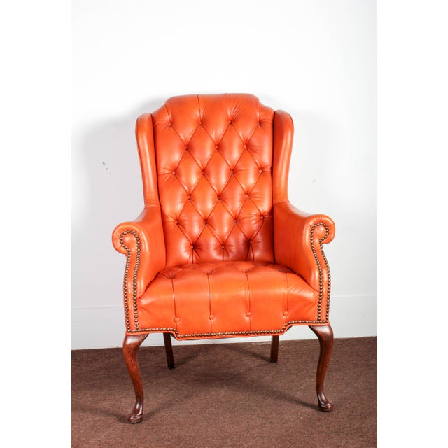 Orange Tufted Leather Queen Anne Mahogany Armchair - Image 4 of 11