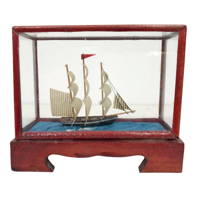 Miniature Model Sailing Ship in Wood & Glass Case - Image 1 of 11