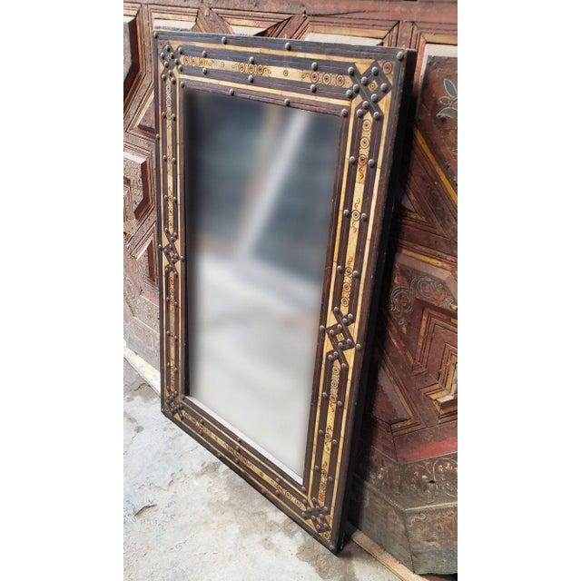 Islamic Moroccan Rectangular Metal Inlay Mirror For Sale - Image 3 of 7