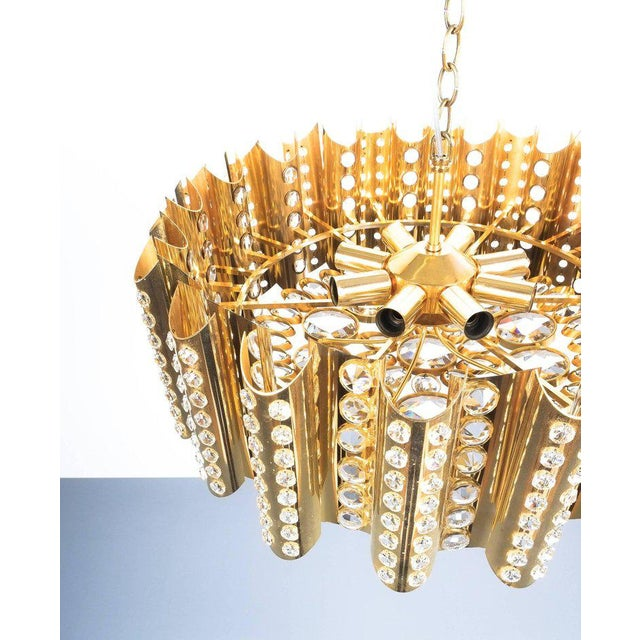 Large Gold-Plated Brass Glass Chandelier Lamp Attributed to Gaetano Sciolari For Sale - Image 6 of 9